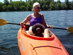 Bonnie with Susan kayaking in Dublin Lake in NH. Photo by Charles Oropallo.
